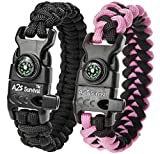 A2S Protection Paracord Bracelet K2-Peak – Survival Gear Kit with Embedded Compass, Fire Starter, Emergency Knife & Whistle (Black / Pink 7.5' for Kids)