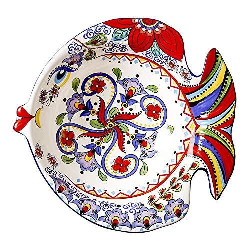 Zavddy Ensaladera de cerámica Ensaladera con Forma De Pescado Creativa Europea Inicio Postre En Forma De Cuenco del Cuenco...