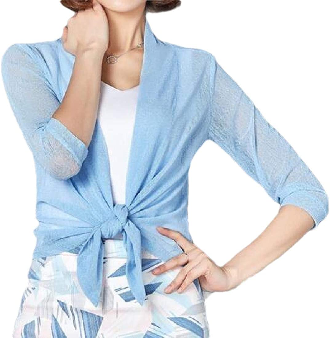Womens Shawl 3 4 Sleeve Mesh Solid Cardi At the price Casual Open-Front Color Outlet ☆ Free Shipping