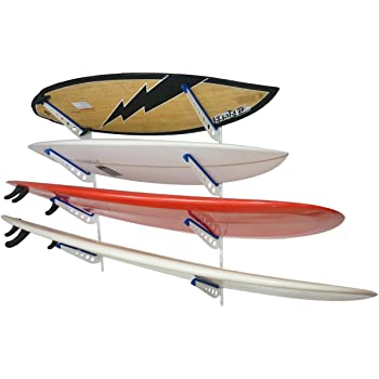 or Snowboards Horizontally Adjustable Steel Perfect for Holding up to 4 Surf Boards Complete with Board Comb Tool Katai Surfboard Wall Mount Storage Rack Wakeboards SUP Stand-Up Paddleboards