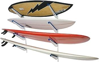 StoreYourBoard Metal Surfboard Storage Rack, 4 Surf Adjustable Home Wall Mount