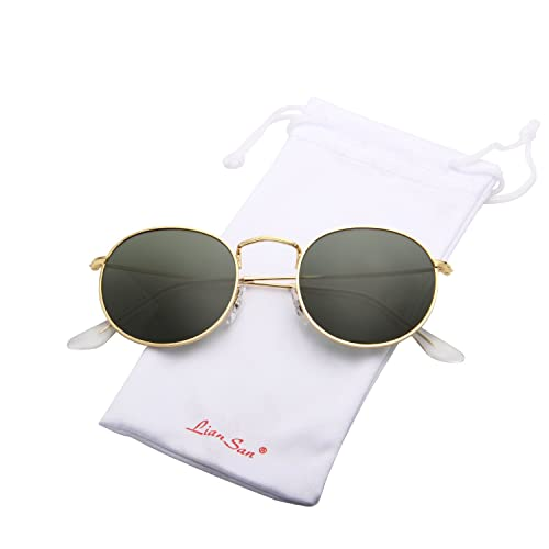 5b2628a9679 LianSan Classic Metal Frame Round Circle Mirrored Sunglasses Men Women  Glasses 3447 …