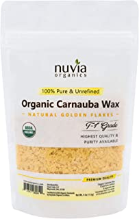Nuvia Organics USDA Certified Carnauba Wax, 100% Vegan - Great for DIY Cosmetics, Food Grade, Various Uses, 4 Oz