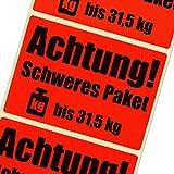 1000 Etiketten Achtung schweres Paket bis 31,5 kg leuchtend rot Haftpapier 105 x 72 mm