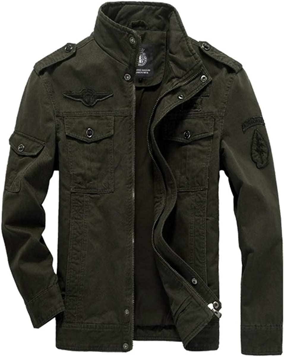 Evaliana Thick Men Military Bomber Embroider Ranking TOP8 Max 85% OFF Outwear Jacket Coat