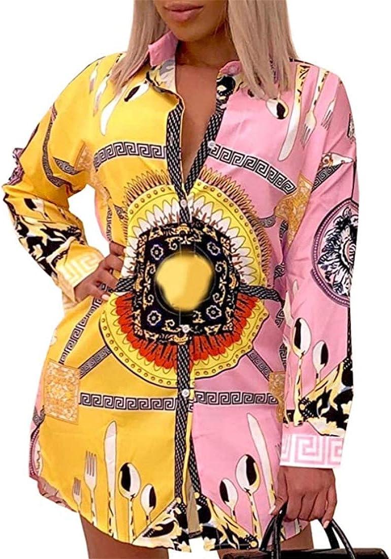Women Shirt Collar Buttom Down Long Sleeves Printed Shirts Tops Shirt Dress