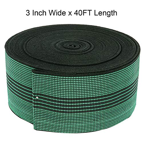 Homend Sofa Elastic Webbing Stretch Band Furniture Repair DIY Upholstery Modification Elasbelt Chair Couch Material Replacement Stretchy Spring Alternative 40' Length (3' Wide x 40' Length)