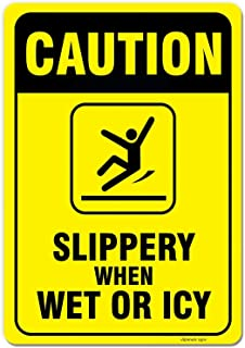 eSplanade Caution - Slippery When Wet Or ICY Sign Sticker Decal - Easy to Mount Weather Resistant Long Lasting Ink (Size 1...