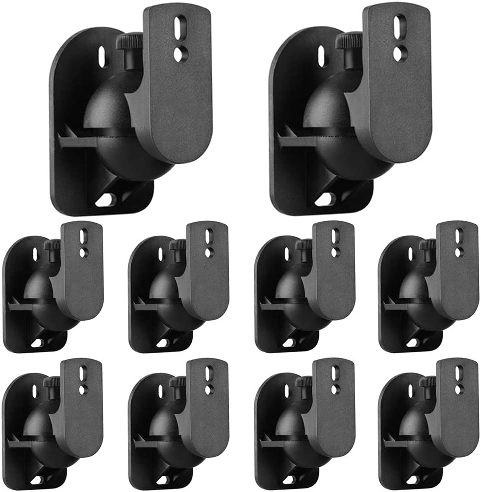 Tnp Universal Satellite Speaker Wall Mount Bracket Ceiling Mount Clamp With Adjustable Swivel And Tilt Angle Rotation For Surround Sound System Satellite Speakers 1 Pair Set Of 2 Black Home