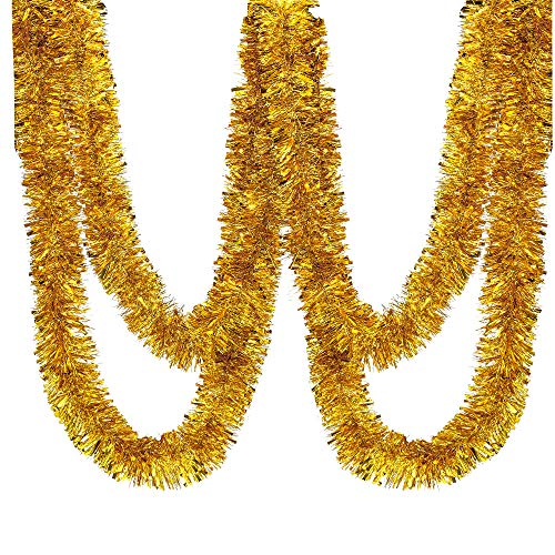 Blukey 25 ft Long Roll Gold Tinsel Twist Garland, Shiny Metallic Foil Decorations for Parade Floats, Halloween, Christmas Eve, New Year Parties (4' x 25' roll, Gold)