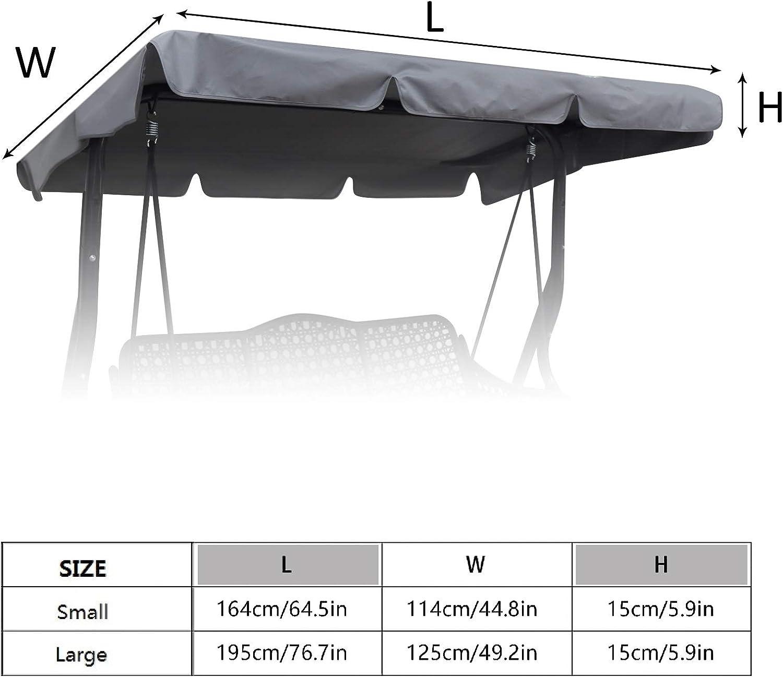 Large, Grau Ersatzdach Gartenschaukel Universal Hollywoodschaukel 3 Sitzer Ersatz Bezug Sonnendach Schaukel Dach