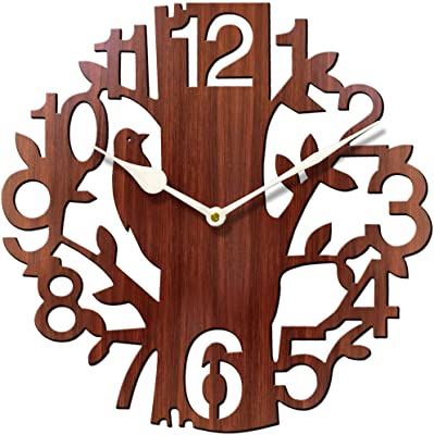 Brown Wall Clocks for Bedroom | Wall Clock for Living Room | Designer Wooden Treebird Clocks for Home/Wall Decor 10 Inch by Sehaz Artworks
