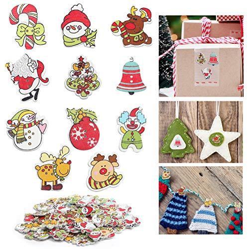 Belle Vous Botones Navidad de Madera (100 Piezas) Botones de Madera 2,5 cm Mixtos - 11 Diseños Adornos Navidad con 2 Agujeros para Costura, Manualidades Decoraciones de Navidad y Regalos