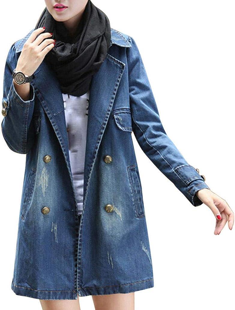 F_Gotal Women's Casual Lapel Slim Long Sleeve Notched Long Denim Jean Trench Jacket Coat Outercoat Jacket Windbreaker