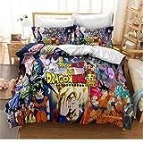 Hanyyj Funda Nórdica 3D Dragon Ball Z Juego De Cama Dibujos Animados Son Goku Kakarotte Bulma Son Gohan Tres Piezas 220X240Cm