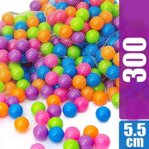 LittleTom 300 Bunte Bälle für Bällebad 5,5cm Babybälle Plastikbälle Baby Spielbälle Pastell