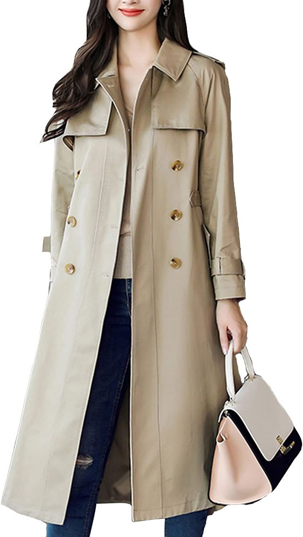 EVEDESIGN Women's Double Breasted Trench Coat Belted Long Jacket Outwear Windbreaker