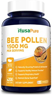 Bee Pollen 1500mg 200 Veggie Caps (100% Vegetarian, Non-GMO & Gluten Free) Naturally Occurring Proteins and Aminoacids*