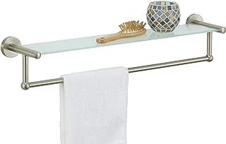 Organize It All 16905W-1 Satin Nickel Glass Shelf with Towel Bar