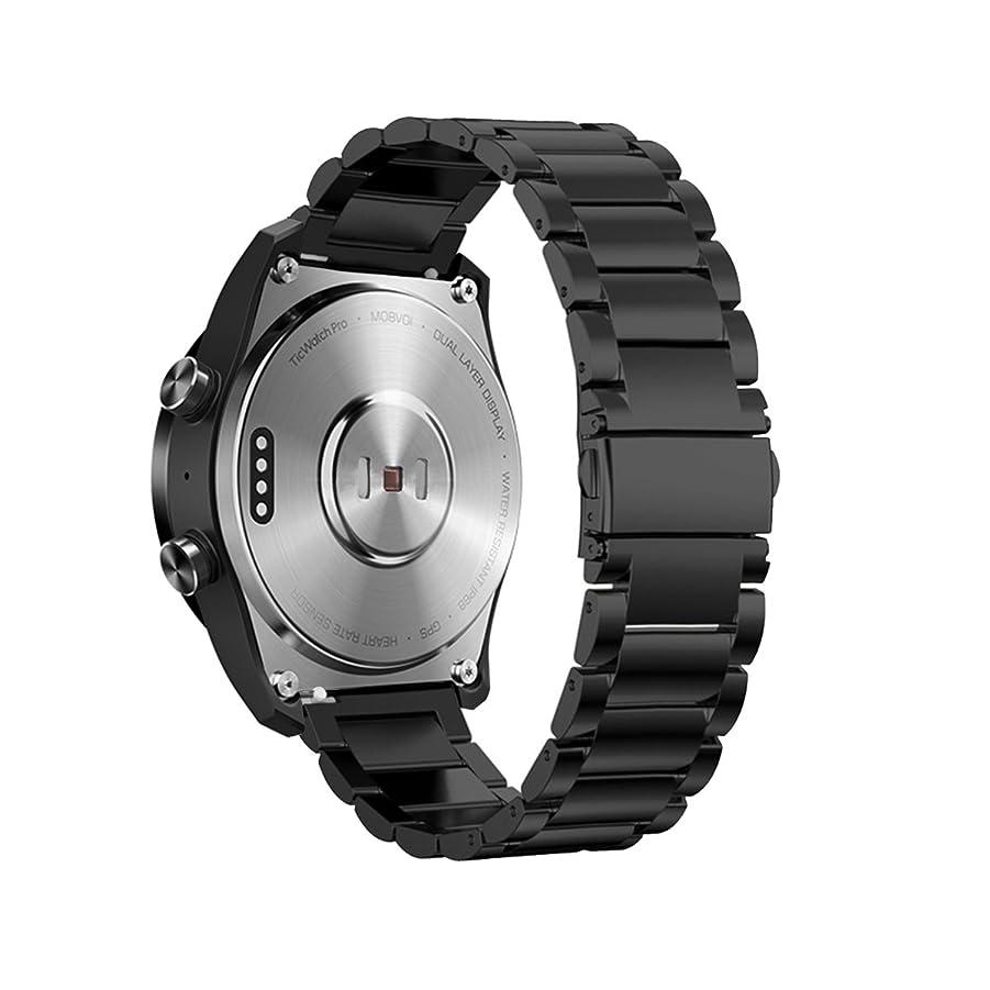 スプーンかわす解釈Kartice for Ticwatch Pro/Ticwatch S2/Galaxy Watch 46mm Gear S3 バンド 22mm高級ステンレス鋼バンド fossil Q EXPLORIST/Huawei Watch 2 Classic/Huawei Watch GT用交換ベルト 調整工具付き (1-ブラック)