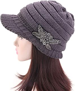 ZGMYC Women Knitted Warm Winter Hat Wide Brim Slouchy Beret Visor Cap with Beaded Flower Accent