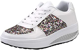 manadlian Chaussure Compensee Plateforme Baskets Mode pour Femmes Confortables et Respirants Lacets Sneakers Casual Basket...