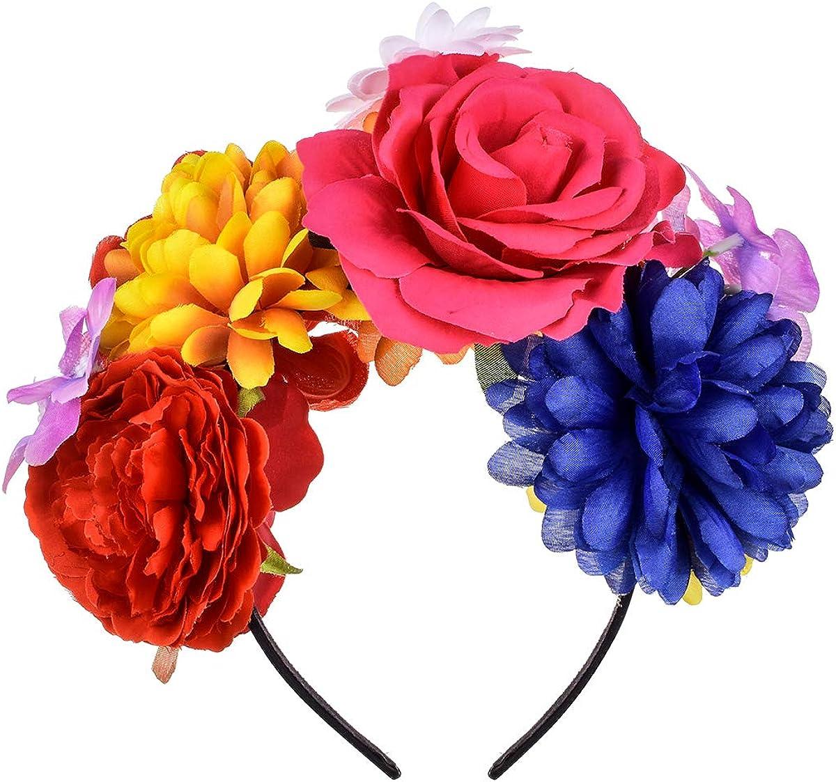 Dreamlily Frida Kahlo Diadema Con Corona De Rosas Mexicanas Para Fiesta De Halloween Disfraz De Halloween Nc26 M Clothing