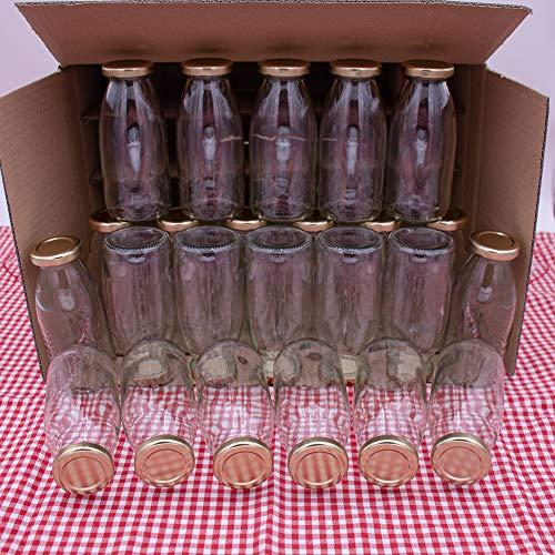 Flaschenbauer - 24 Leere Glasflaschen 250 ml mit Schraubverschluss TO43 0,25l in Gold - Zum selbst befüllen von Milchflaschen, Saftflaschen, Smoothie Flaschen