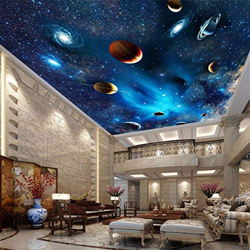 Benutzerdefinierte 3D-Wandbild Tapete 3D-Universum Space Star Planet Deckenbilder Wohnzimmer Schlafzimmer Decke Hintergrund Dekor Tapete,250 * 175Cm