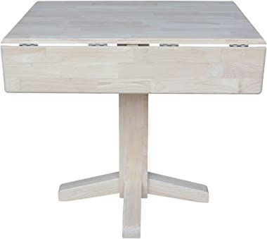 International Concepts Square Dual Drop Leaf Dining Table, 7 by 36-Inch