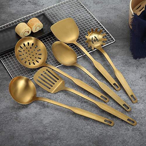 Originalität Edelstahl-Küchengeschirr-Set, 6-teilig, goldene Schaufel, Suppenkelle, Schaumlöffel, Sieb, Küchenzubehör gold