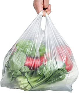 Large Plastic Grocery Carry-Out Bags 30 Micron Transparent T-Shirts Carrier Bags for Supermarket Retail Shopping Household Food Two-Sided Storage Bags 100ct Size 9.5x14inch