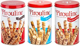 Pirouline Rolled Wafers, Best Flavor Mix, Dark Chocolate, Chocolate Hazelnut and Vanilla Flavors, 14.1 Ounce Tins (Pack of...