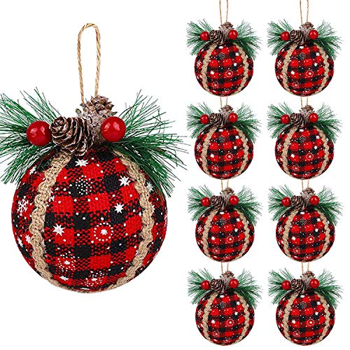 Iceyyyy 9PCS Christmas Plaid Ball Ornaments - 3 Inch Black & Red Buffalo Plaid Fabric Ball Ornaments with Pine Cones and Greenery, Plaid Christmas Tree Hanging Ball Ornaments Festive Decorations