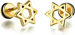 LIANTSH Star of David Mens Womens Stud Earrings Screw Back,Stainless Steel,Silver/Black/Gold