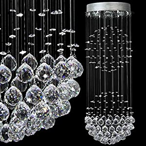 Modern Contemporary Flush Mount Ceiling Chandelier Lighting Rain Drop Double Large Crystal Balls Cylinder Pendant Chandelier Ceiling Light Fixture Lamp for Dining Living Room Kitchen Foyer of CRYSTOP