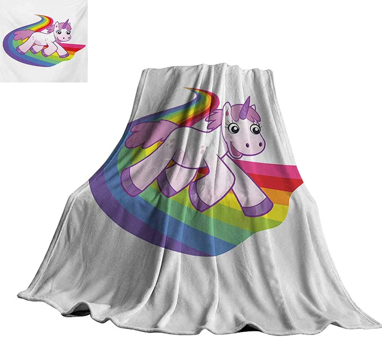 Cartoon,Lightweight Blanket Baby Unicorn Runs on The Rainbow Mythological Fantasy Legendary Creature Image for Couch Bed Living Room 60 x50