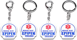 """4 Pack Epipen Inside Keychain - Allergy Medical Alert Symbol Bag Tags Set, Double Side Key Tag for Zipper Pull Charm 1.4"""" for Adult and Child"""