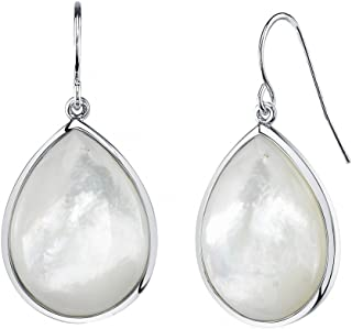 THE PEARL SOURCE Genuine White Mother of Pearl Cultured Pearl Cultured Mother Of Pearl Mave Earrings for Women