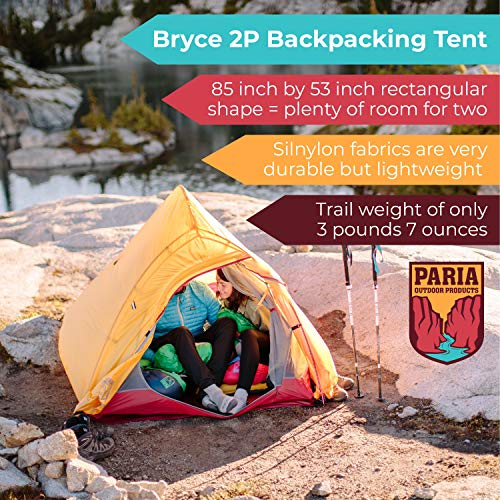 Paria Outdoor Products Bryce Ultralight Tent and Footprint - Perfect for Backpacking, Kayaking, Camping and Bikepacking (1P)