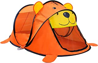 Kids Play Tent Teepee Tiger Pattern for Baby Cartoon Toy Beach Playhouse for Indoor Outdoor Play for Girls Boys (Orange)