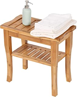 Kinsuite Bamboo Shower Bench and Bath Chair Seat Corner Shower Stool for Indoor & Outdoor