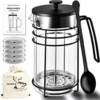 ADAMITA French Press Coffee Maker - French Press 8 cup 34 oz 304 Grade Stainless Steel Coffee Press Heat-resistant Borosilicate Glass and Tea Pot Perfect Gifts for Coffee and Tea Lovers