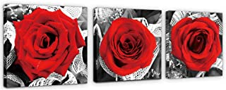 PLMOKN ART 3 Panel Canvas Wall Art for Home Decor Red Rose Flower Plant Abstract Wall Art Painting Picture for Living Room Kitchen Office Modern Home Decorations (12