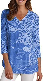 Mogogo Women's Floral Print Casual Weekend Baggy Style V-Neck 3/4 Sleeve Top