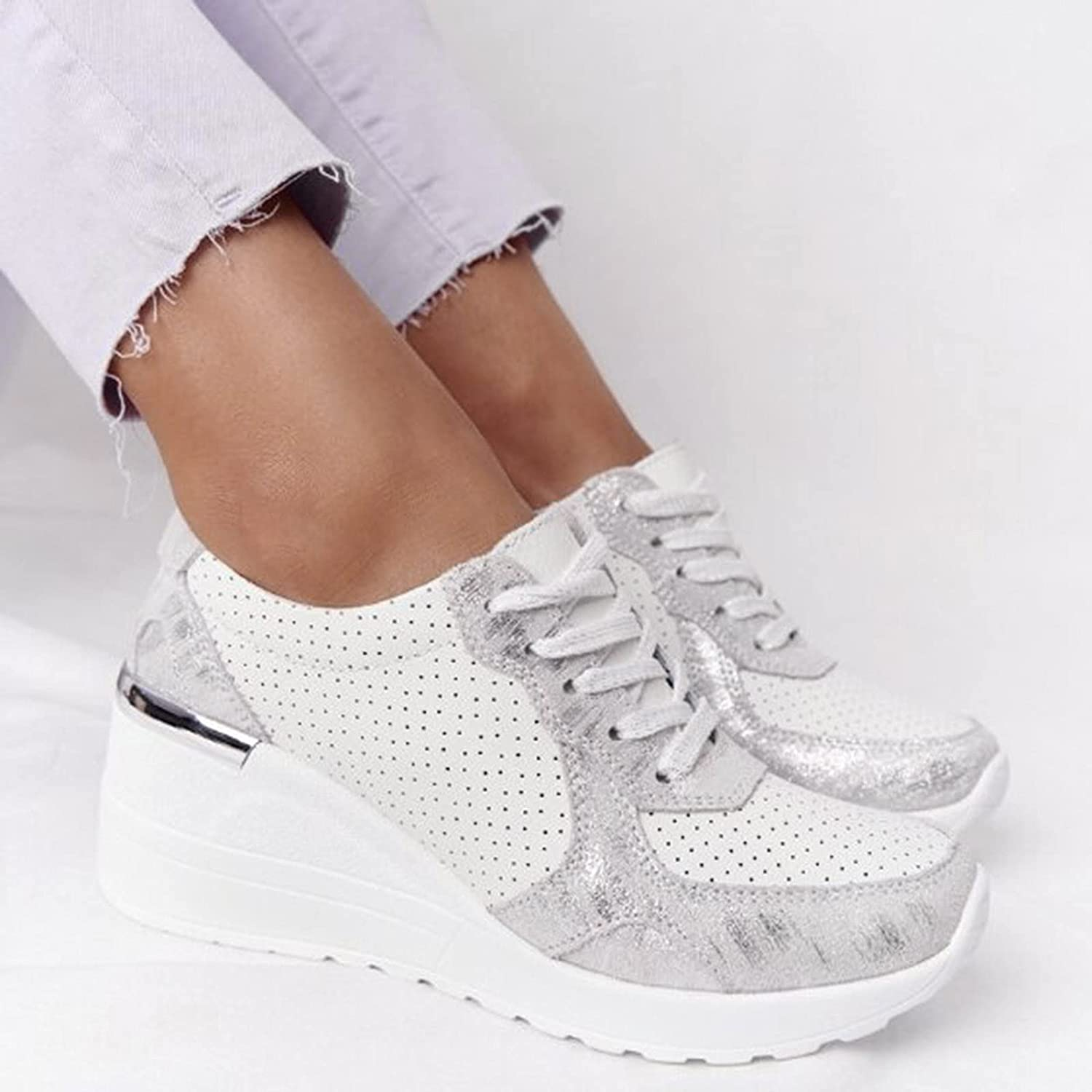 Niceast Women's Sneakers Comforatable Wedge Platform Walking Shoes for Women Fashion Lace Up Breathable Running Shoes