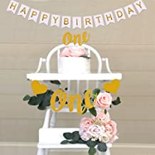 Hurriman One High Chair Banner One Cake Topper and Happy Birthday Banner for Baby 1st First Birthday Party (Glitter Gold)