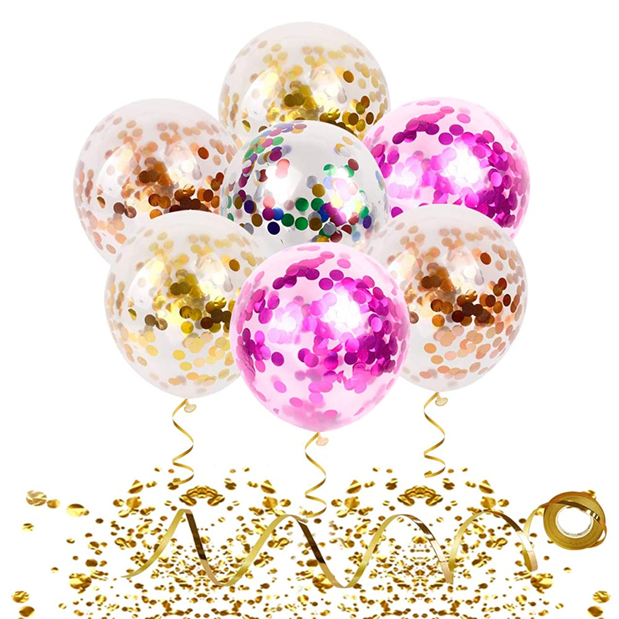 Confetti Balloons 20 Pieces Gold Curling Ribbon & Spraying Water Tool | 12 Inch Latex Party Balloons - Filled Gold Pink Champagne Mylar Confetti Dot For Wedding Birthday Anniversary New Year Decorations
