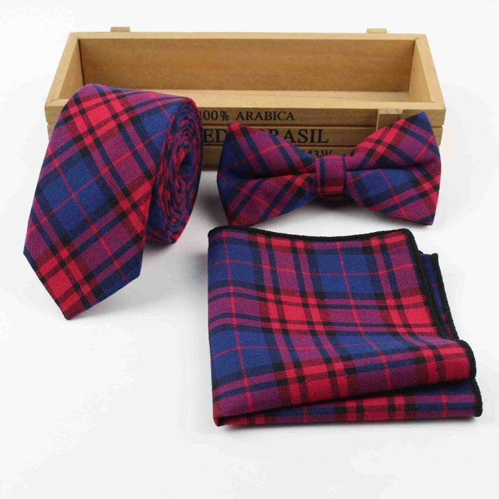 JIEIIFAFH Mens 100% Cotton Designer Skinny Striped Pocket Square Handkerchief Butterfly Bow Tie Ties Set Lots (Color : F)
