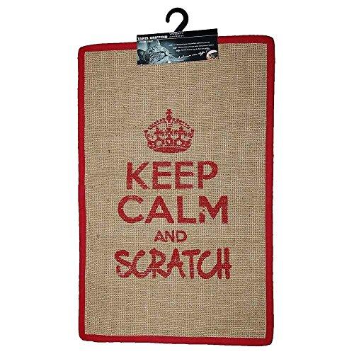 "Wouapy Kratzmatte für Katzen – rechteckiger Sisalteppich – Kratzteppich – Design & Trend – Schriftzug ""Keep Calm and Scratch"" – praktisch & rutschfest – Rot"